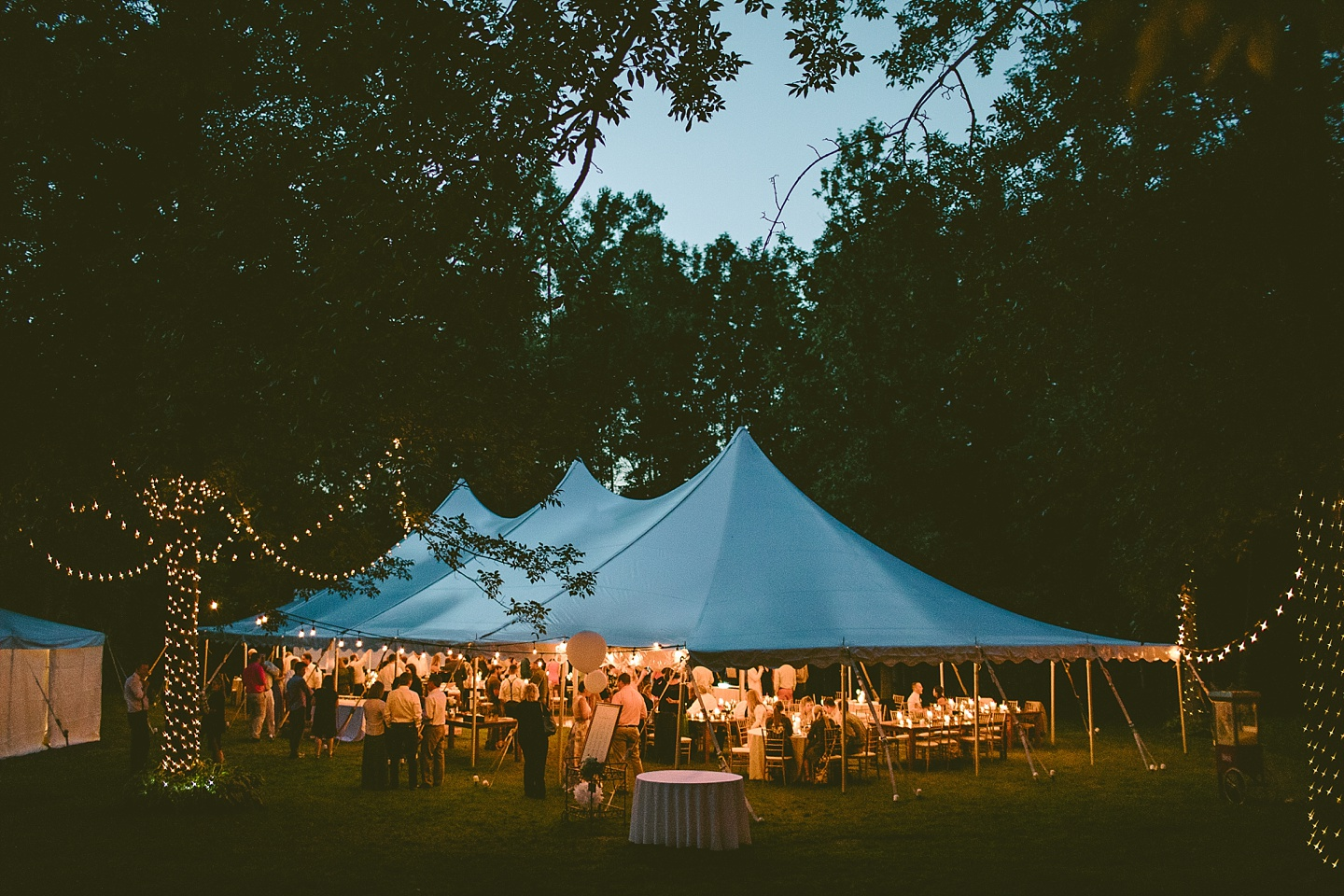 Open Air Ceremony Farm Table And Bistro Lighting