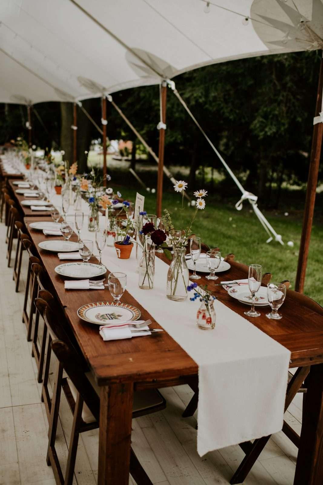 Sailcloth Farm Tables Bistro Lighting Mccarthy Tents