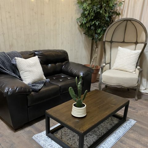 Brown Leather Furniture Rental in Rochester, NY