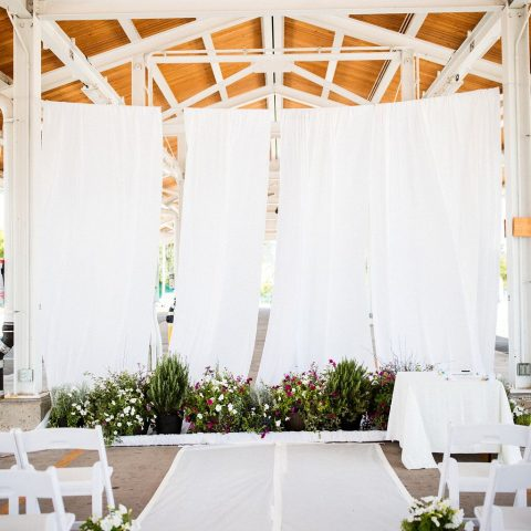 White Poly Premiere Drape Rental in Rochester, NY