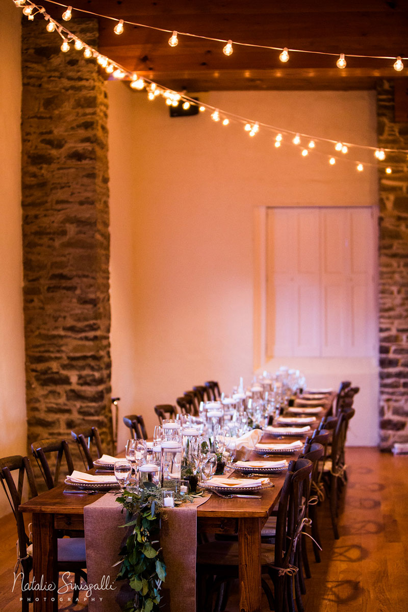 indoor farm tables bistro lights mccarthy tents events party