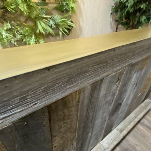 8′ Reclaimed Wood Bar Rental in Rochester, NY