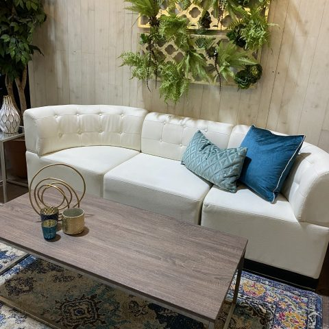 White Tufted Lounge Furniture Rental in Rochester, NY
