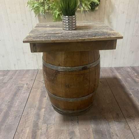 Wine Barrel w/ Reclaimed Wood Top Rental in Rochester, NY