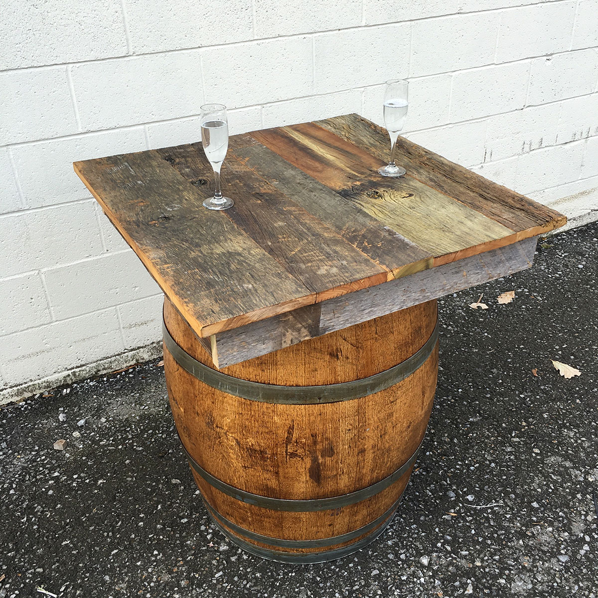 Wine Barrel w/ Reclaimed Wood Top - Wine Barrel W/ Reclaimed Wood Top Rental - McCarthy Tents & Events